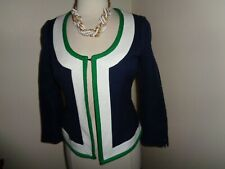 NEW Banana Republic Women's Size 4 Navy Blue Blazer Jacket White Green Trim