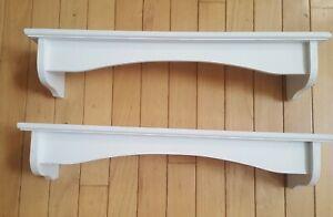 """Two Floating Wood Wooden Shelf White 20"""" Farmhouse Farm House EXC"""