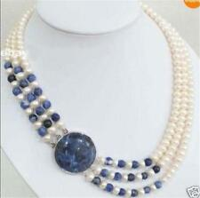 3 Rows Natural White 7-8mm Cultivation Pearl & Lapis lazuli Round Beads Necklace