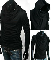 Premium Men BLACK Cowl Neck Hood Cloak LOng sleeve shirt top tee S M L XL 2XL