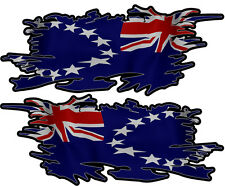 COOK ISLAND RIPPED FLAG LEFT & RIGHT 75MM BY 30MM GLOSS LAMINATED
