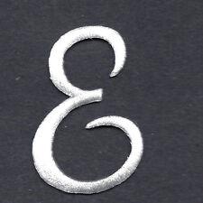 """SCRIPT LETTERS - White  Script Letter """"E"""" - Iron On Embroidered Applique"""