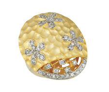 14K Gold Plated and Sterling Silver Dome Flower Ring with Cubic Zirconia