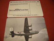 ORIGINAL WWII FORD MOTOR CO B-24 SILVER BANKING B-24 LIBERATOR BOMBER   POSTCARD