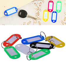 100x Mixed Color Plastic Key Ring Tag Name Card ID Label Keyring Travel Luggage