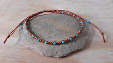 Handmade Woven Turquoise Bead  Anklet