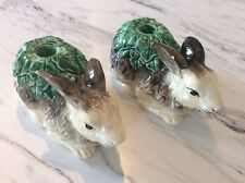Vintage Set Of Two Bunny Rabbit Ceramic Candle Holders Country Primatives