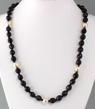 Vintage 70's Black Crystal Glass & White Glass Pearl Bead Necklace