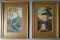 Antique 19th C oil paintings signed