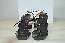 GIVENCHY BLACK PATENT LEATHER CAGE SANDALS SZ 41