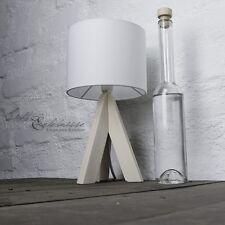 Elegante Lámpara de noche con patas madera & Blanco Pantalla Tela Mesita Stand