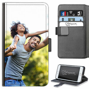 Personalised Photo Phone Case PU Leather Side Flip Cover, Customise With Image