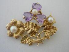 Stunning Vintage designer Pearl & Amethyst 9k Gold Brooch - 6.4 Grams