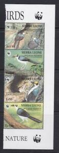 SIERRA LEONE 1994 BIRD STAMPS BIRDS WWF RIGHT STRIP  MNH - BIRDL234