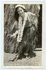 Pretty Hula Dancer woman  -  Hawaii Vintage real photo postcard RPPC