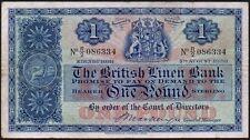1950 BRITISH LINEN BANK £1 BANKNOTE * R/2 086334 * LAST * gF *
