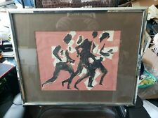 "Arthur Secunda Original ""Running Figures"" Titled 1968 Mixed media sweden"