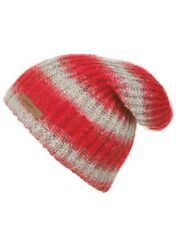 O'NEILL Womens Ladies Striped Blurry Oversized Beanie Hat One Size Red/Grey BNWT
