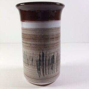 """Vtg Skegness Studio Pottery Vase Entwined Impressed Mark Brown Glaze Height 6.5"""""""