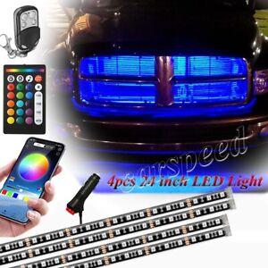 "4pcs 24"" Car Truck Grill LED Strip Glow Neon Light Kit Music Active APP Control"