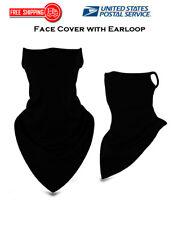 Balaclava Neck Tube Scarf Bandana Face Cover Neck Gaiter Ear loop Headwear Black