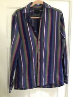 """DUCHAMP tailored Fit Blue Green Pink Striped Long Sleeve Shirt Size M 15.5"""" Neck"""