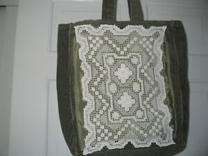 Tote Bag Corduroy Olive Green with Vintage White Doily New