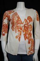 Coldwater Creek Misses SMALL Orange Paisley One Button Swing Cardigan Sweater
