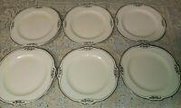 """6 Homer Laughlin Silver Rose Patrician 6.25"""" Bread Plates Virginia Rose Platinum"""