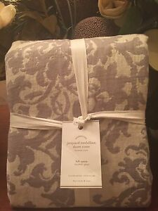Pottery Barn JACQUARD LINEN MEDALLION Duvet, King.Cal King, New W/$299.00Tag