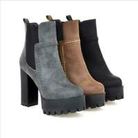 Retro Womens Platform Round toe Pull On Ankle Boot Casual High Chunky Heel Shoes