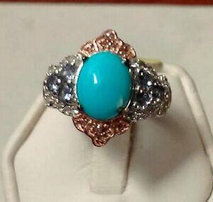 Sleeping Beauty Turquoise,Tanz.,Diamond Platinum 14KYG Platinum St.Silver Ring