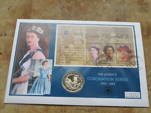 Large 2003 Zambia coin cover / $1 Virgin Islands -- Queen's Coronation Jubilee