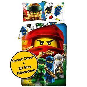 Lego Ninjago Single Duvet Cover Set - EU Size - Boys Cotton Reversible Bedding