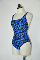Speedo Bright Blue Kaleidoscope Racerback One Piece Bathing Swimsuit Women 8