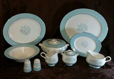 Dinnerware Serving SET 10 pieces Sevron Blue Lace Vintage MCM Aqua Silver