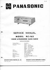 Vintage Panasonic SERVICE MANUAL- Models RC-165 1-Band 6-Transistor Clock Radio