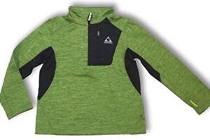 gerry kids youth boys quarter zip athletic fleece lined sweatshirt XS 5-6 GREEN