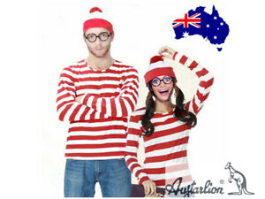 Book Week Women Men Wheres Wally Waldo Where's Wally Adult Costume Cosplay Party