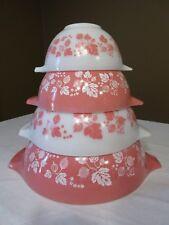 Vintage Pyrex Cinderella Nesting Mixing Bowl Pink Gooseberry - Set of 4 - Nice!