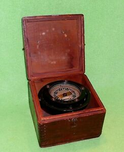 Antique Early Ship dry gimballed Compass by POLARIS in original wooden box 14420
