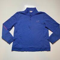 Vineyard Vines Mens 1/4 Zip Pullover Blue Fleece Lined Long Sleeve Mock Neck XL