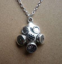 Steampunk silver plated GAS MASK Collana NUOVO IN BORSA REGALO CYBER HORROR