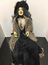 25 Inch Sitting Halloween Witch Doll Black Dress & Jacket Crochet Shawl