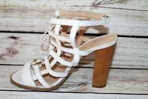 RMK Brand Nirvana White Leather Strappy Lace Up Heels Size 39