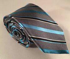 "Mens Express Neck Tie Slim Skinny 100% Silk Blue Aqua Striped Black 2.75"""