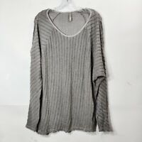 XCVI Gray Stripe Blouse Shirt Long Sleeve V Neck Textured Womens Sz Large L