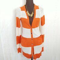 Yellow Bird Orange Cream Striped Cardigan Sweater Womens Size XS