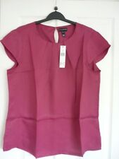 LONG TALL SALLY DEEP PINK SILKY PLEAT NECK TOP. UK 18, EUR 46, US 14. BNWT SUPER