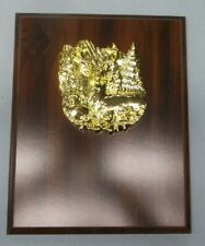 gold deer plaque 8 x 10 cherry finish trophy Free lettered plate personalized